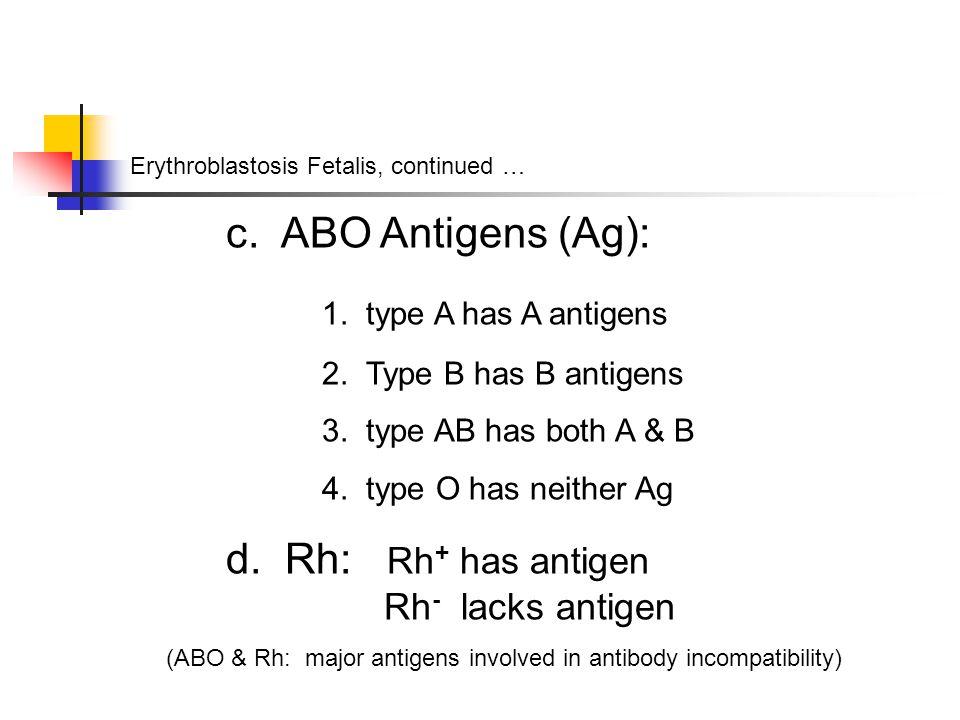 Erythroblastosis Fetalis, continued … c. ABO Antigens (Ag): 1.
