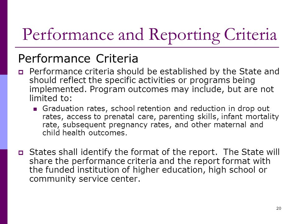 20 Performance and Reporting Criteria Performance Criteria  Performance criteria should be established by the State and should reflect the specific activities or programs being implemented.