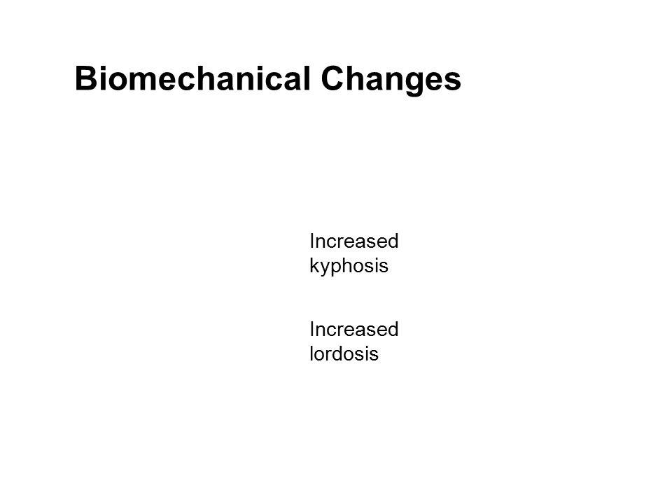 Biomechanical Changes Increased kyphosis Increased lordosis