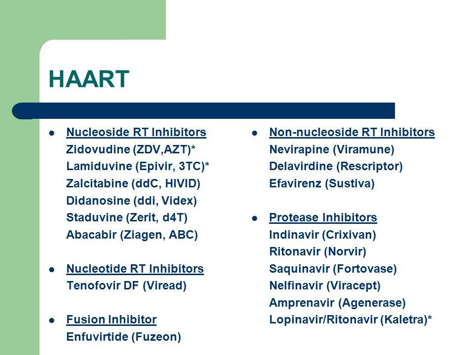 HAART Nucleoside RT Inhibitors Zidovudine (ZDV,AZT)* Lamiduvine (Epivir, 3TC)* Zalcitabine (ddC, HIVID) Didanosine (ddi, Videx) Staduvine (Zerit, d4T)