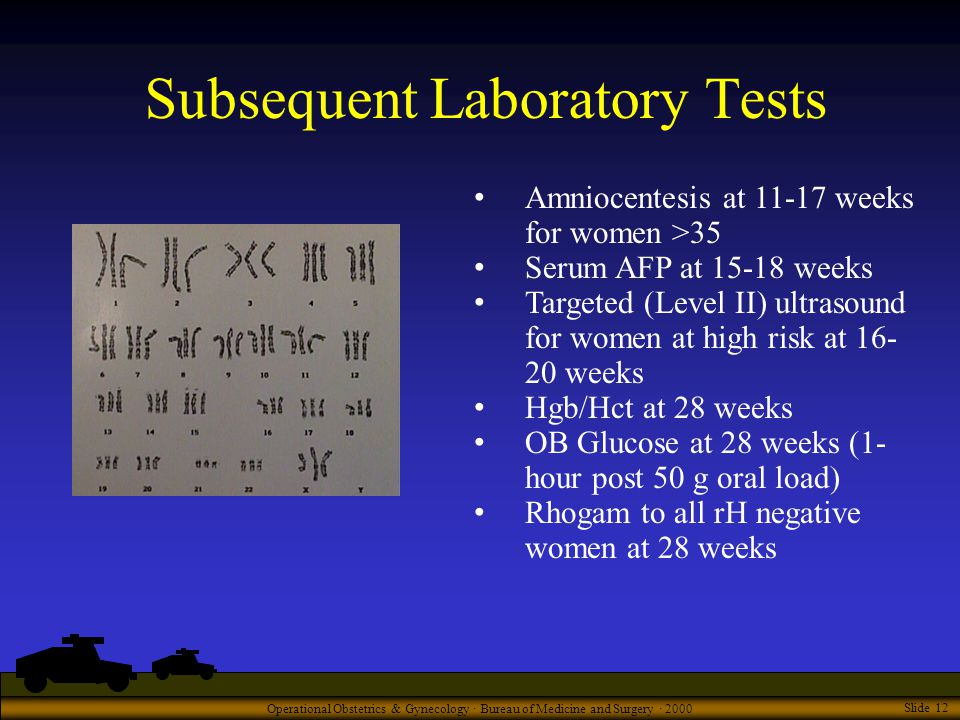 Operational Obstetrics & Gynecology · Bureau of Medicine and Surgery · 2000 Slide 12 Subsequent Laboratory Tests Amniocentesis at 11-17 weeks for women >35 Serum AFP at 15-18 weeks Targeted (Level II) ultrasound for women at high risk at 16- 20 weeks Hgb/Hct at 28 weeks OB Glucose at 28 weeks (1- hour post 50 g oral load) Rhogam to all rH negative women at 28 weeks