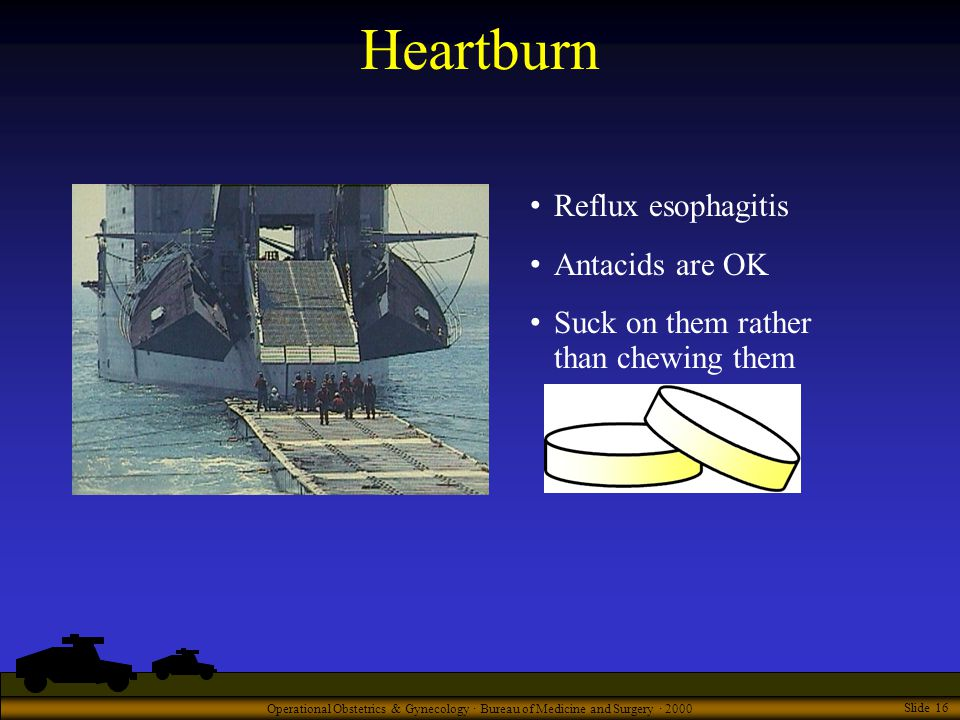 Operational Obstetrics & Gynecology · Bureau of Medicine and Surgery · 2000 Slide 16 Heartburn Reflux esophagitis Antacids are OK Suck on them rather than chewing them