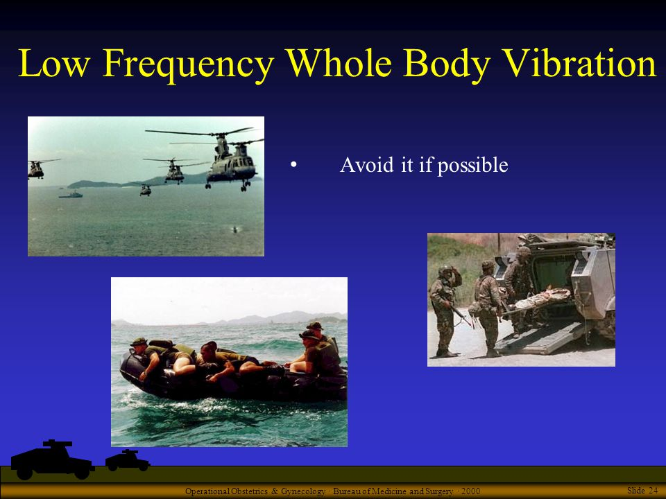 Operational Obstetrics & Gynecology · Bureau of Medicine and Surgery · 2000 Slide 24 Low Frequency Whole Body Vibration Avoid it if possible