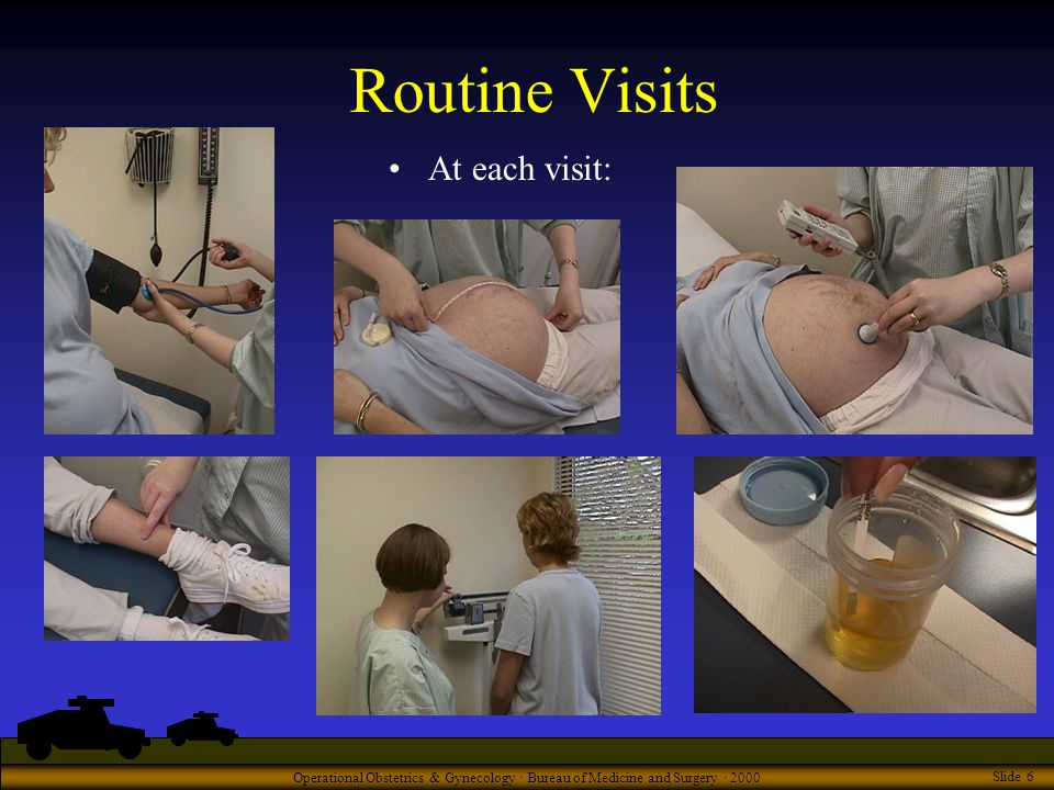 Operational Obstetrics & Gynecology · Bureau of Medicine and Surgery · 2000 Slide 6 Routine Visits At each visit: