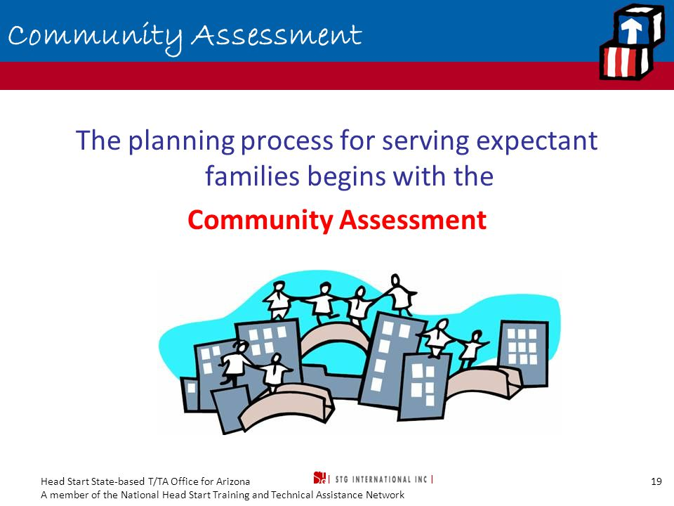 Head Start State-based T/TA Office for Arizona A member of the National Head Start Training and Technical Assistance Network 19 Community Assessment The planning process for serving expectant families begins with the Community Assessment