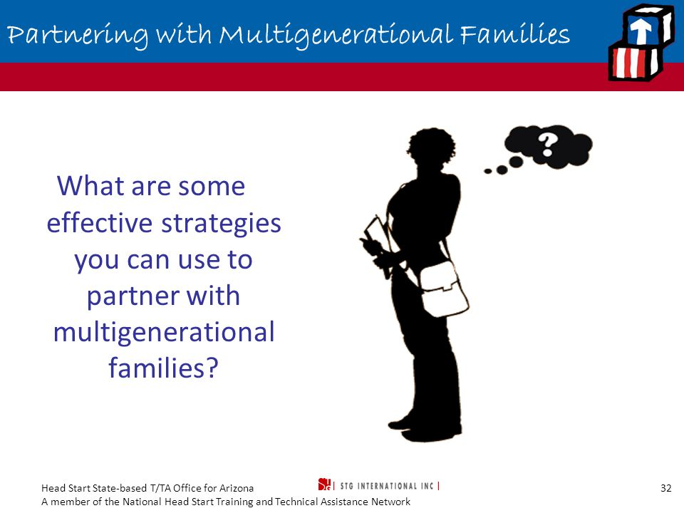 Head Start State-based T/TA Office for Arizona A member of the National Head Start Training and Technical Assistance Network 32 Partnering with Multigenerational Families What are some effective strategies you can use to partner with multigenerational families