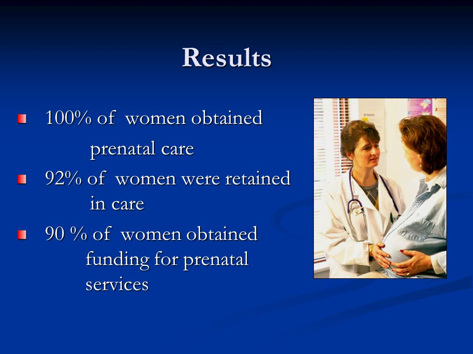 Results 100% of women obtained 100% of women obtained prenatal care prenatal care 92% of women were retained in care 92% of women were retained in care 90 % of women obtained funding for prenatal services 90 % of women obtained funding for prenatal services