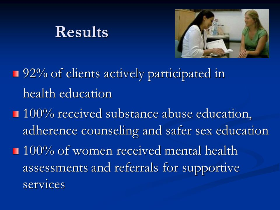 Results 92% of clients actively participated in health education 100% received substance abuse education, adherence counseling and safer sex education 100% of women received mental health assessments and referrals for supportive services