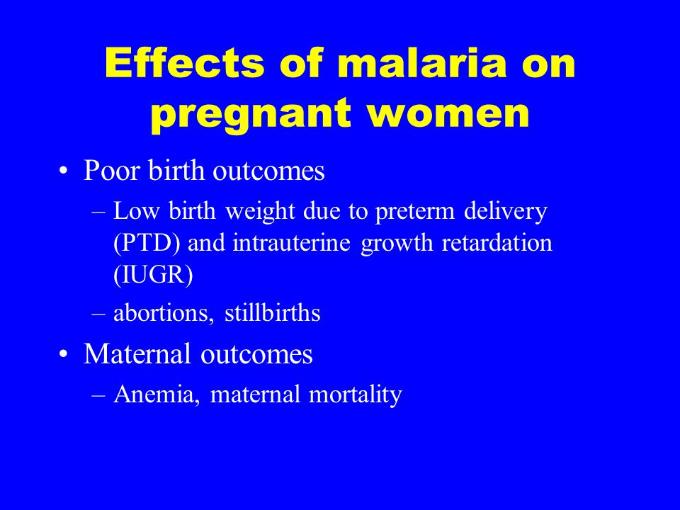 Gravidity and malaria Primigravidae have no pre-existing immunity to placental parasites and are highly susceptible In high transmission areas, primigravidae develop immunity to placental parasites and are protected in subsequent pregnancies In low transmission areas, multigravidae are unexposed and unprotected