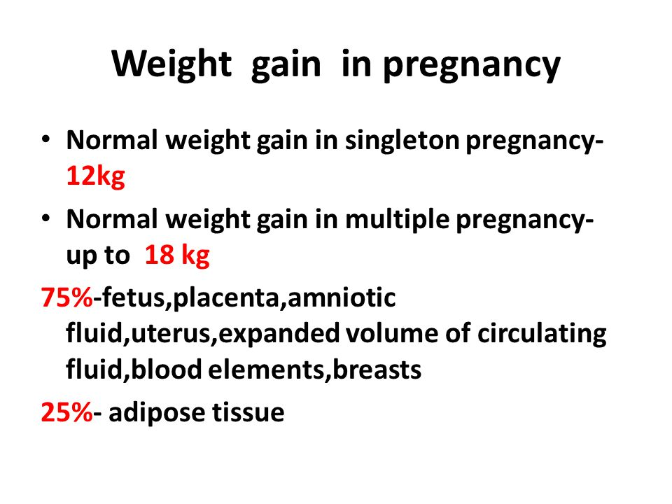 Macronutrients Recommended energy intake 2500 kcal/day (200-600kcal increasing) No extreme reducing diet in course of pregnancy ----------------------------------------------------------------  Carbohydrates(50-60%)-the main energetic substrate for fetus is glucose  Proteins(20-25%)-lean body mass  Fat(20-25%)-energy supply