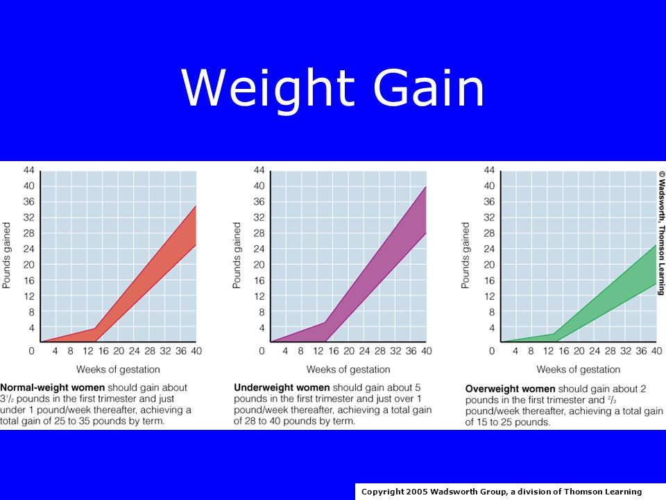 Weight Gain Copyright 2005 Wadsworth Group, a division of Thomson Learning