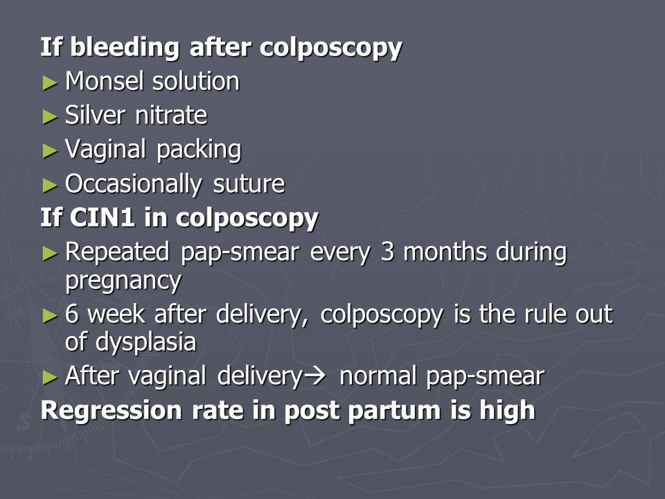 CIN2 & CIN3 in pregnancy should Colposcopy directed biopsy Colposcopy directed biopsy If CIN3 should Be followed by cytology Be followed by cytology Normal vaginal delivery Normal vaginal delivery 80% persistent after delivery 80% persistent after delivery Definitive management Definitive management