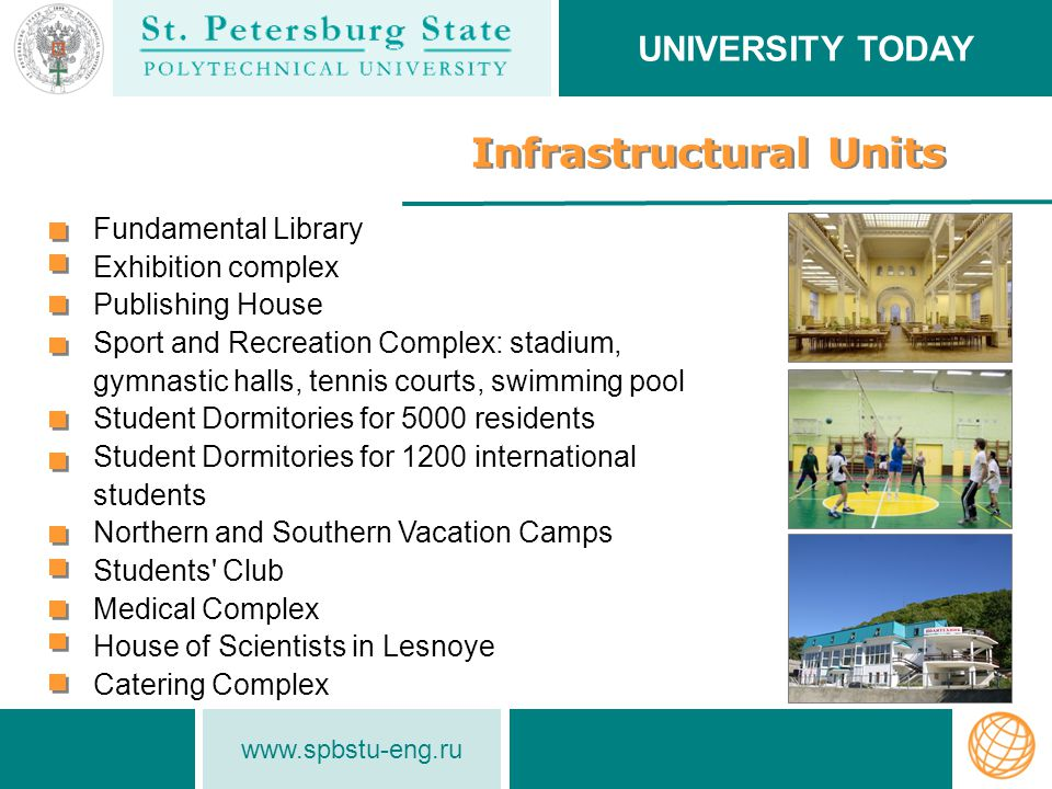 www.spbstu-eng.ru Infrastructural Units Fundamental Library Exhibition complex Publishing House Sport and Recreation Complex: stadium, gymnastic halls, tennis courts, swimming pool Student Dormitories for 5000 residents Student Dormitories for 1200 international students Northern and Southern Vacation Camps Students Club Medical Complex House of Scientists in Lesnoye Catering Complex UNIVERSITY TODAY