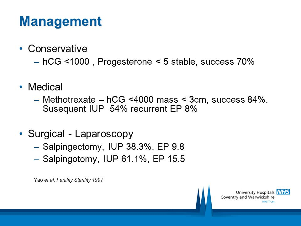 Management Conservative –hCG <1000, Progesterone < 5 stable, success 70% Medical –Methotrexate – hCG <4000 mass < 3cm, success 84%. Susequent IUP 54%