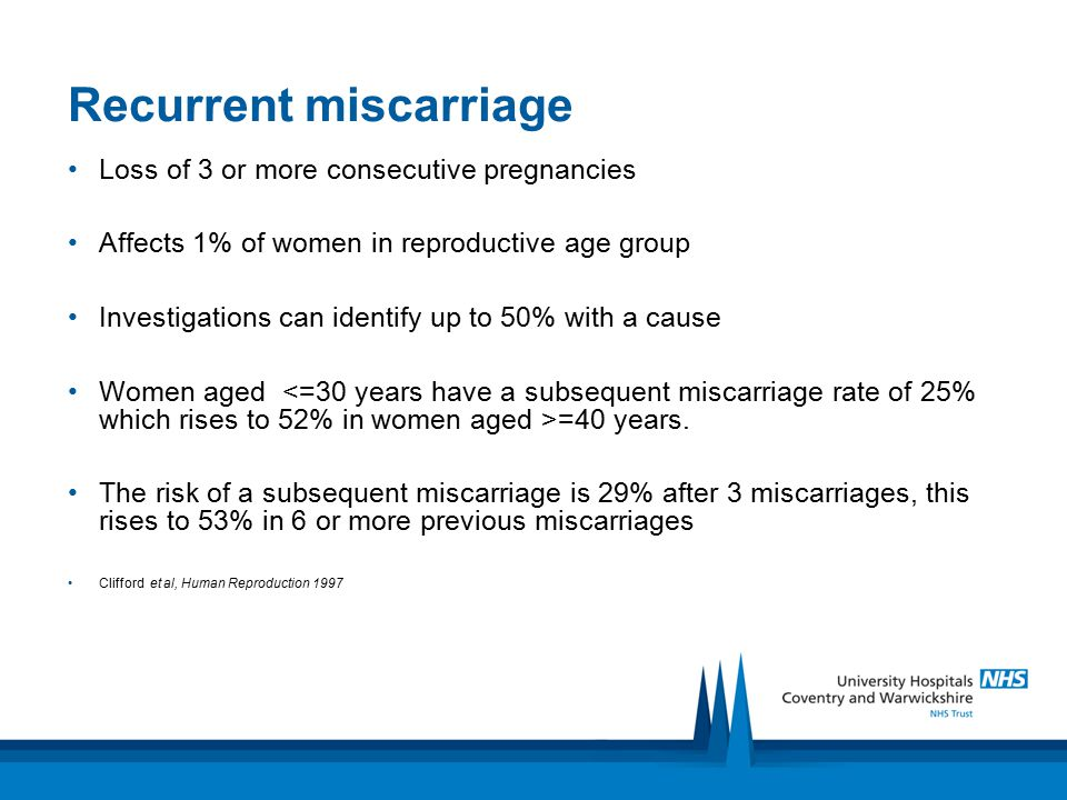 Recurrent miscarriage Loss of 3 or more consecutive pregnancies Affects 1% of women in reproductive age group Investigations can identify up to 50% wi