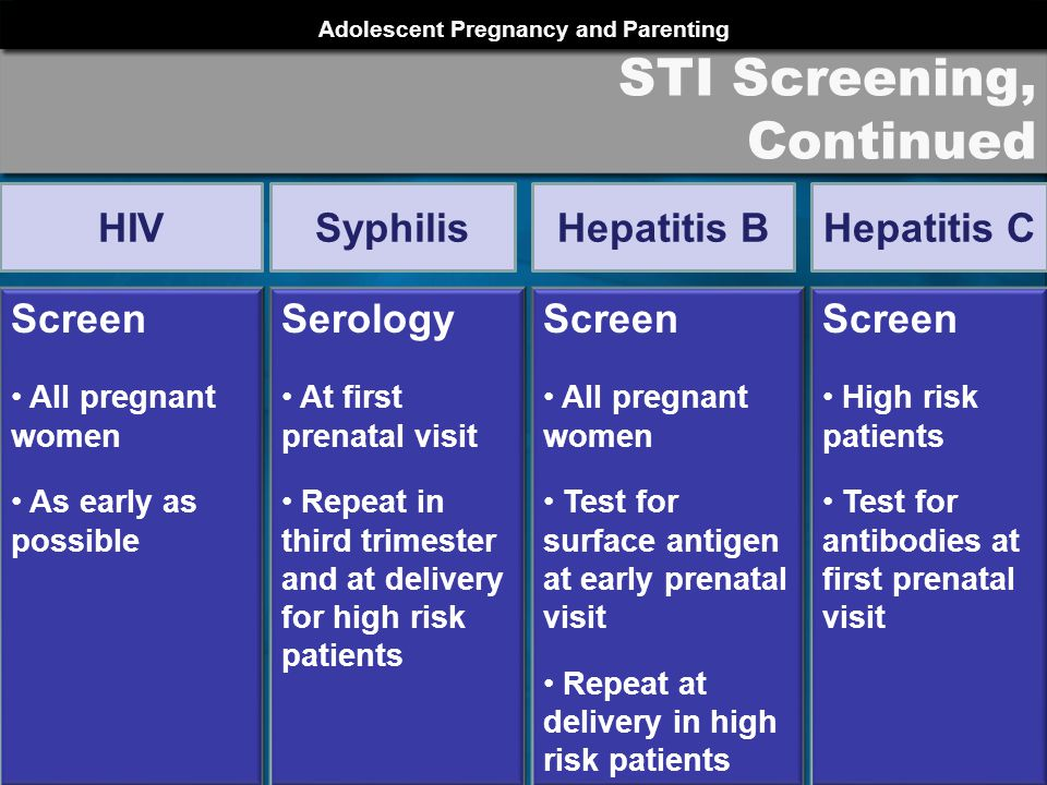 Adolescent Pregnancy and Parenting PRCH 2012 STI Screening, Continued Screen All pregnant women As early as possible HIV Serology At first prenatal visit Repeat in third trimester and at delivery for high risk patients Syphilis Screen All pregnant women Test for surface antigen at early prenatal visit Repeat at delivery in high risk patients Hepatitis B Screen High risk patients Test for antibodies at first prenatal visit Hepatitis C