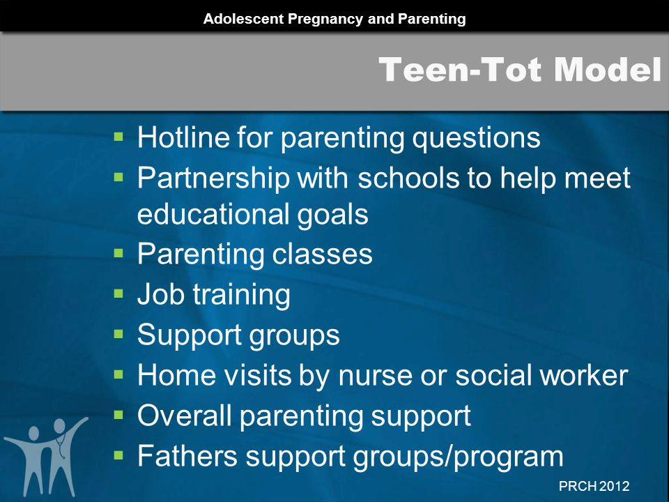 Adolescent Pregnancy and Parenting PRCH 2012  Hotline for parenting questions  Partnership with schools to help meet educational goals  Parenting c