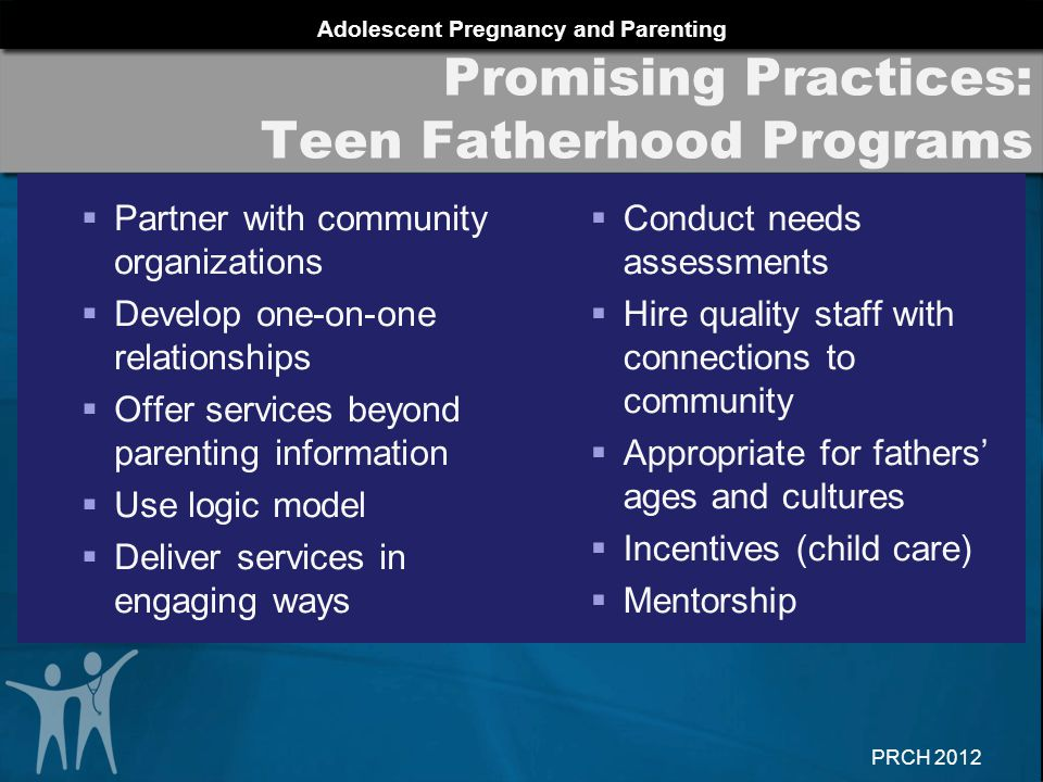 Adolescent Pregnancy and Parenting PRCH 2012 Promising Practices: Teen Fatherhood Programs  Partner with community organizations  Develop one-on-one relationships  Offer services beyond parenting information  Use logic model  Deliver services in engaging ways  Conduct needs assessments  Hire quality staff with connections to community  Appropriate for fathers' ages and cultures  Incentives (child care)  Mentorship