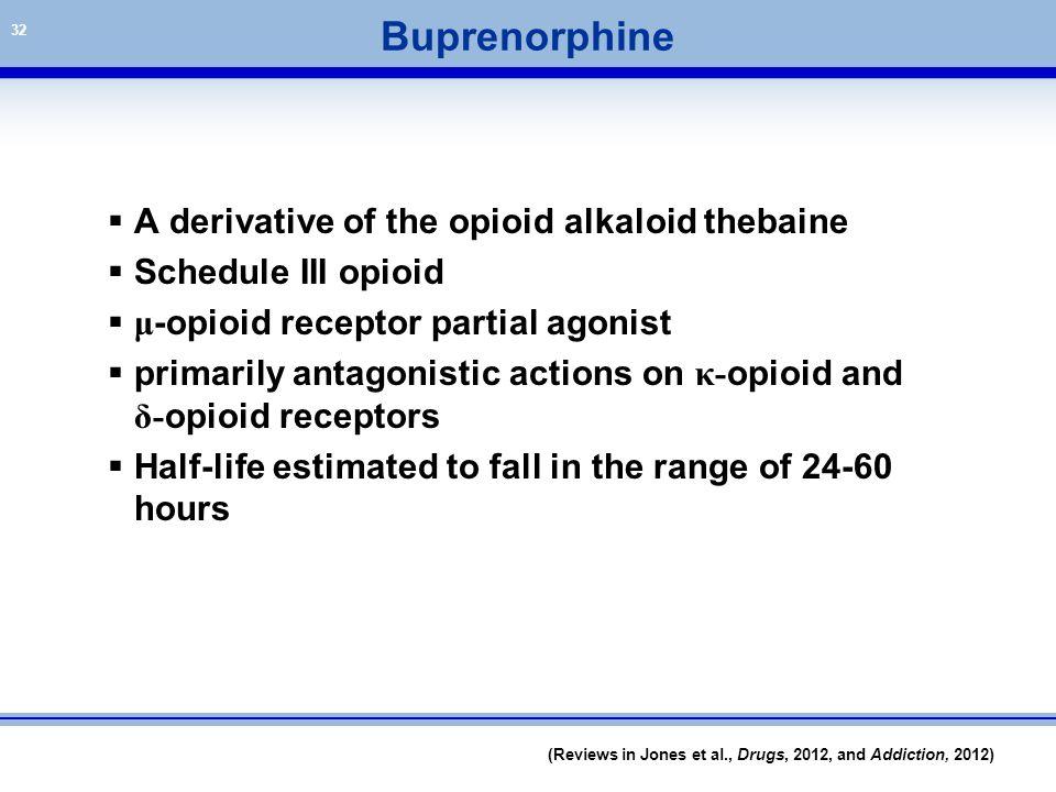 32 Buprenorphine  A derivative of the opioid alkaloid thebaine  Schedule III opioid  μ -opioid receptor partial agonist  primarily antagonistic ac