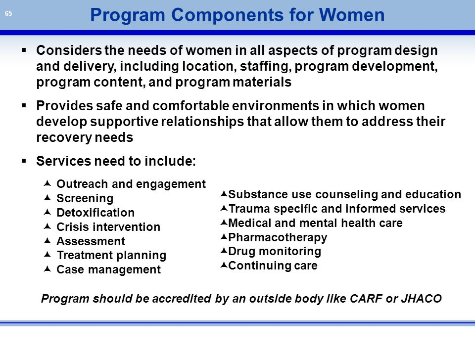 65  Considers the needs of women in all aspects of program design and delivery, including location, staffing, program development, program content, a