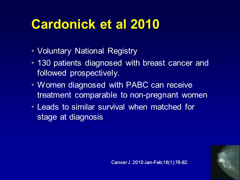 Cardonick et al 2010 Voluntary National Registry 130 patients diagnosed with breast cancer and followed prospectively.