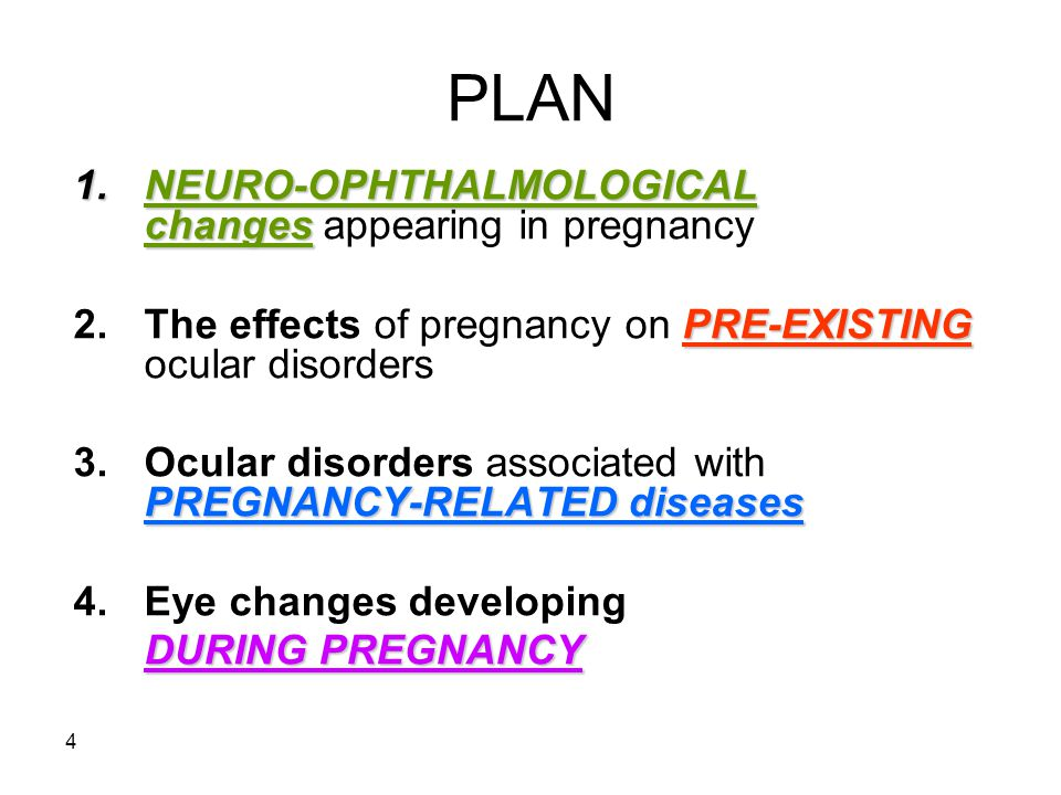 4 PLAN 1.NEURO-OPHTHALMOLOGICAL changes 1.NEURO-OPHTHALMOLOGICAL changes appearing in pregnancy PRE-EXISTING 2.The effects of pregnancy on PRE-EXISTIN