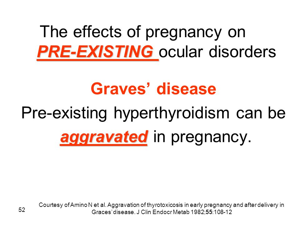 52 PRE-EXISTING The effects of pregnancy on PRE-EXISTING ocular disorders Graves' disease Pre-existing hyperthyroidism can be aggravated aggravated in