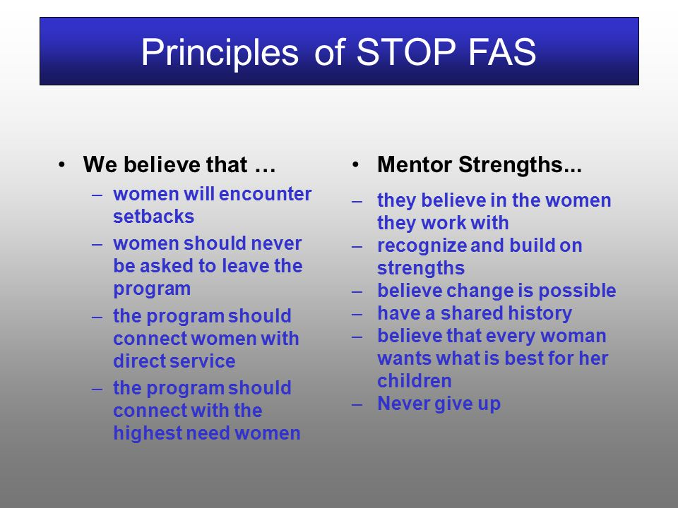 We believe that … –women will encounter setbacks –women should never be asked to leave the program –the program should connect women with direct service –the program should connect with the highest need women Principles of STOP FAS Mentor Strengths...