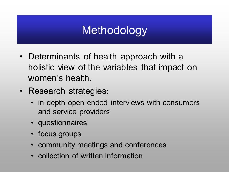 Methodology Determinants of health approach with a holistic view of the variables that impact on women's health.