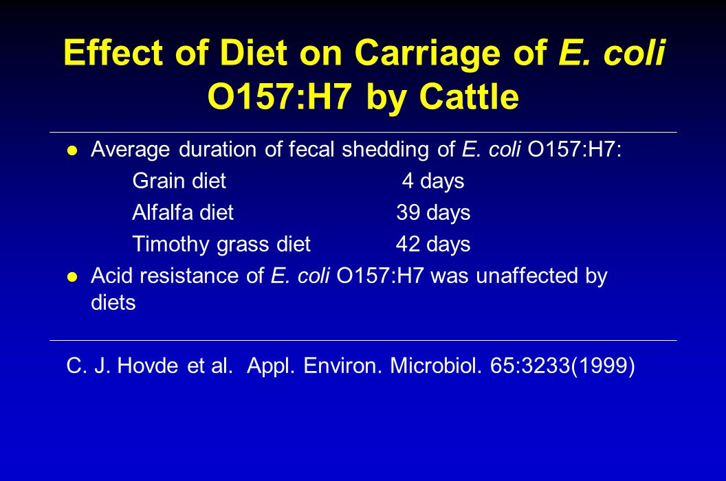 Effect of Diet on Carriage of E. coli O157:H7 by Cattle l Average duration of fecal shedding of E.