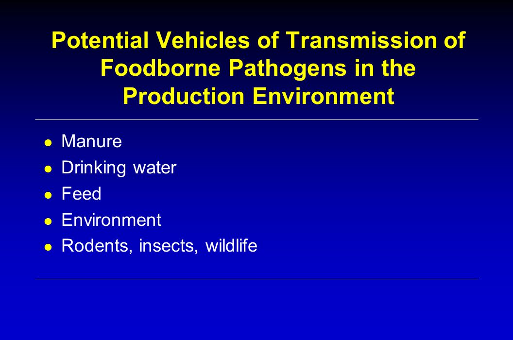 Potential Vehicles of Transmission of Foodborne Pathogens in the Production Environment l Manure l Drinking water l Feed l Environment l Rodents, insects, wildlife