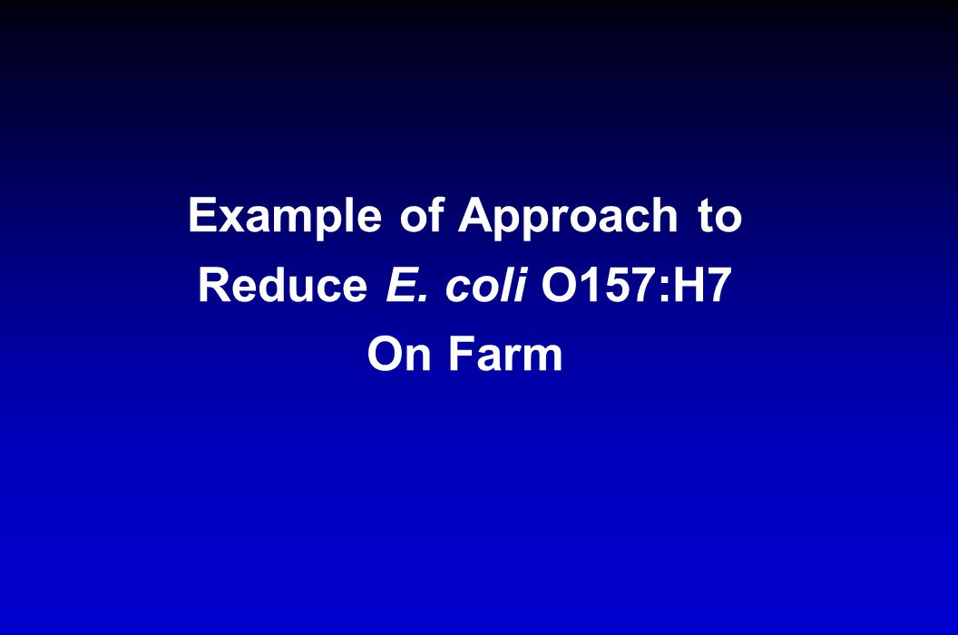 Example of Approach to Reduce E. coli O157:H7 On Farm