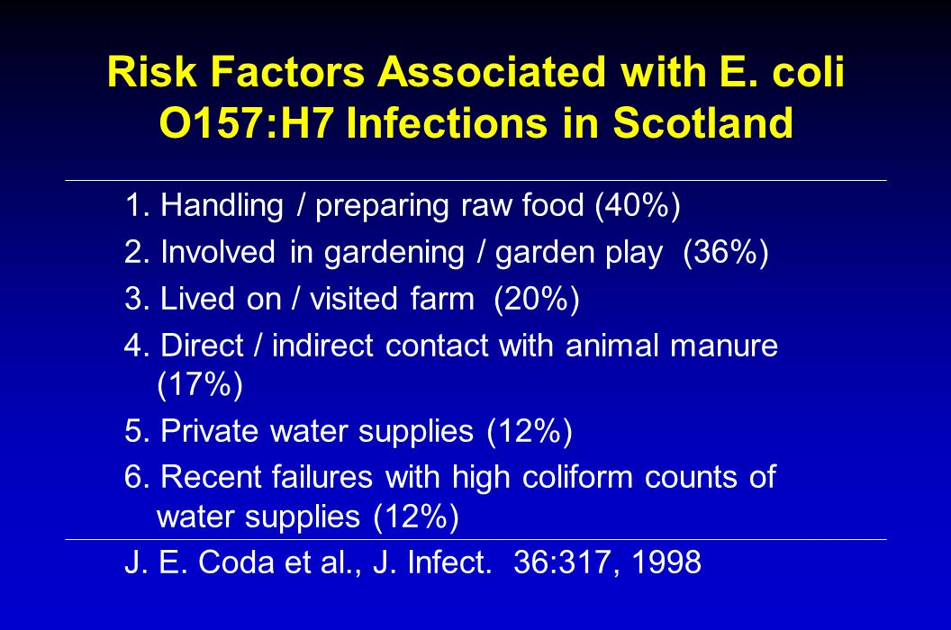 Risk Factors Associated with E.coli O157:H7 Infections in Scotland 1.