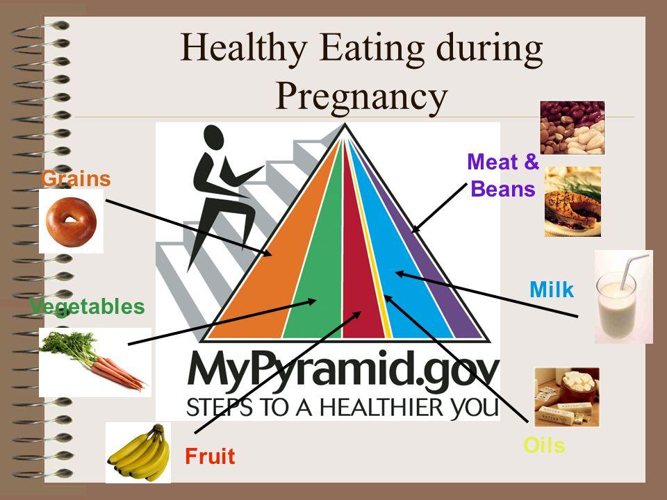Healthy Eating during Pregnancy Grains Vegetables Fruit Milk Oils Meat & Beans
