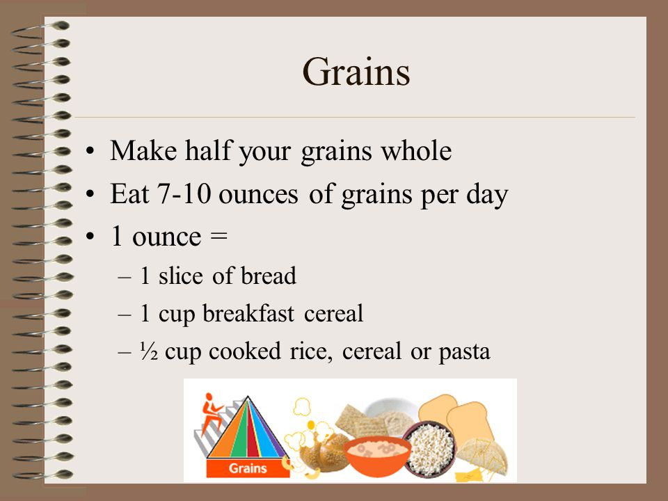 Grains Make half your grains whole Eat 7-10 ounces of grains per day 1 ounce = –1 slice of bread –1 cup breakfast cereal –½ cup cooked rice, cereal or pasta