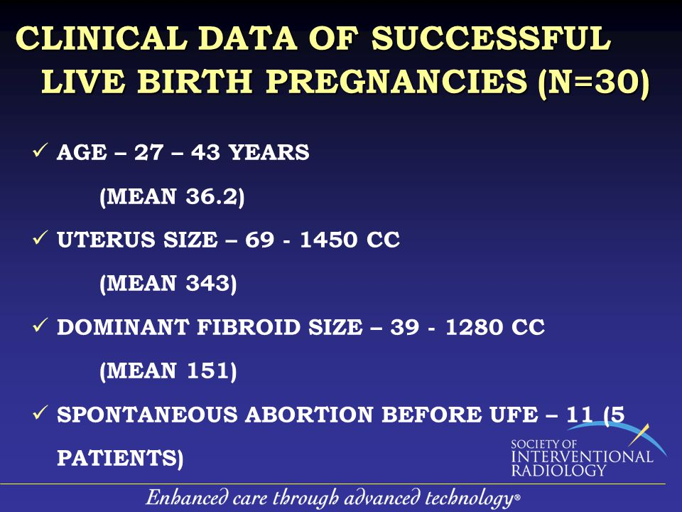 AGE – 27 – 43 YEARS (MEAN 36.2) UTERUS SIZE – 69 - 1450 CC (MEAN 343) DOMINANT FIBROID SIZE – 39 - 1280 CC (MEAN 151) SPONTANEOUS ABORTION BEFORE UFE