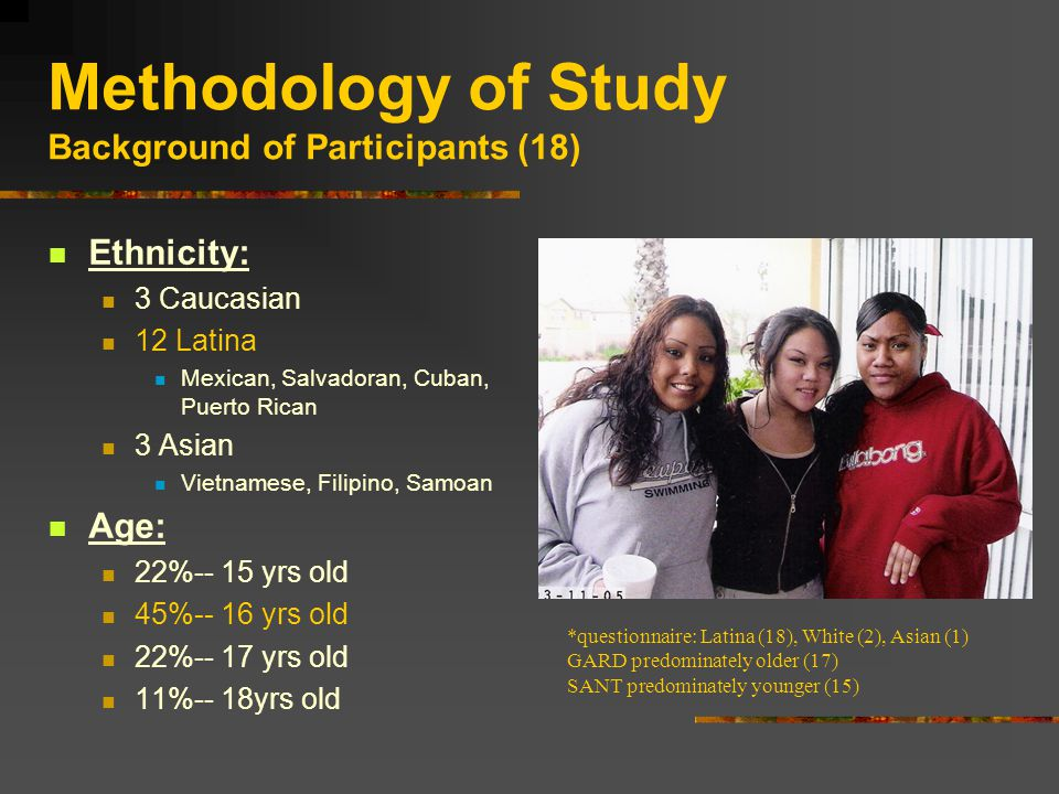 Methodology of Study Background of Participants (18) Ethnicity: 3 Caucasian 12 Latina Mexican, Salvadoran, Cuban, Puerto Rican 3 Asian Vietnamese, Filipino, Samoan Age: 22%-- 15 yrs old 45%-- 16 yrs old 22%-- 17 yrs old 11%-- 18yrs old *questionnaire: Latina (18), White (2), Asian (1) GARD predominately older (17) SANT predominately younger (15)