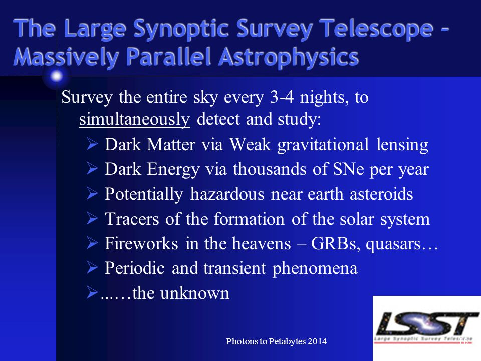 The Large Synoptic Survey Telescope – Massively Parallel Astrophysics Survey the entire sky every 3-4 nights, to simultaneously detect and study:  Dark Matter via Weak gravitational lensing  Dark Energy via thousands of SNe per year  Potentially hazardous near earth asteroids  Tracers of the formation of the solar system  Fireworks in the heavens – GRBs, quasars…  Periodic and transient phenomena ...…the unknown 18Photons to Petabytes 2014