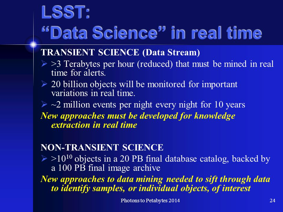 LSST: Data Science in real time TRANSIENT SCIENCE (Data Stream)  >3 Terabytes per hour (reduced) that must be mined in real time for alerts.