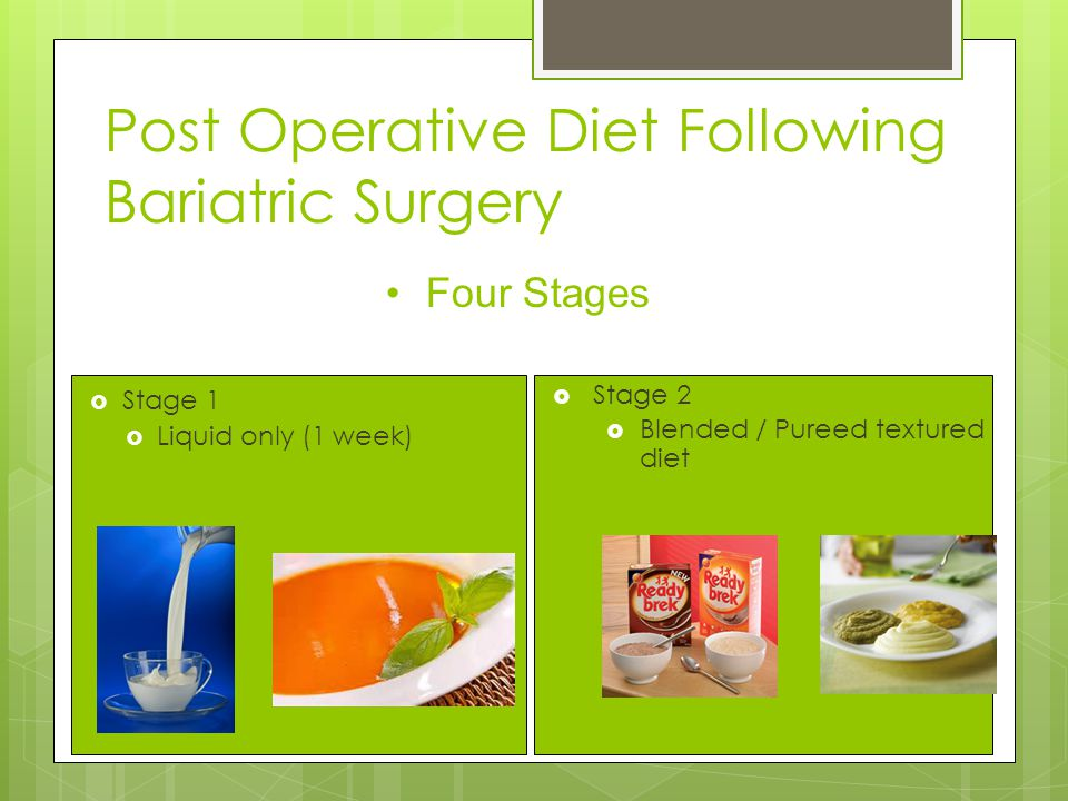  Stage 1  Liquid only (1 week)  Stage 2  Blended / Pureed textured diet Four Stages