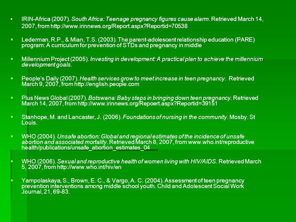 IRIN-Africa (2007). South Africa: Teenage pregnancy figures cause alarm.
