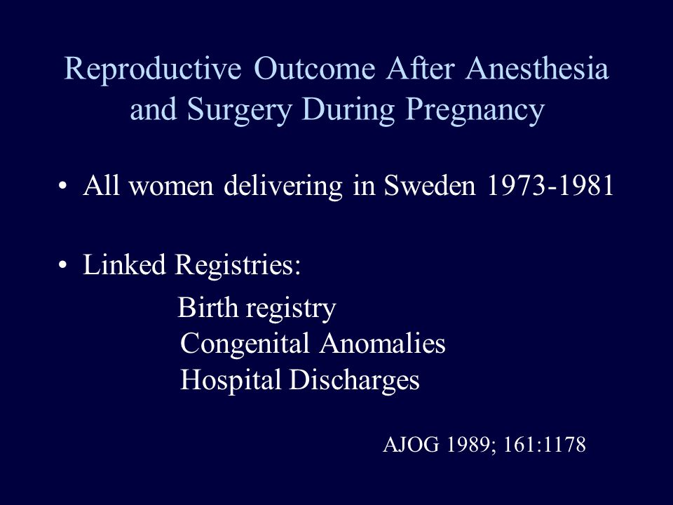Reproductive Outcome After Anesthesia and Surgery During Pregnancy All women delivering in Sweden 1973-1981 Linked Registries: Birth registry Congenital Anomalies Hospital Discharges AJOG 1989; 161:1178