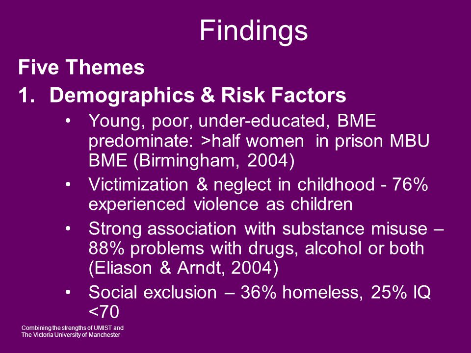 Combining the strengths of UMIST and The Victoria University of Manchester Findings 2.