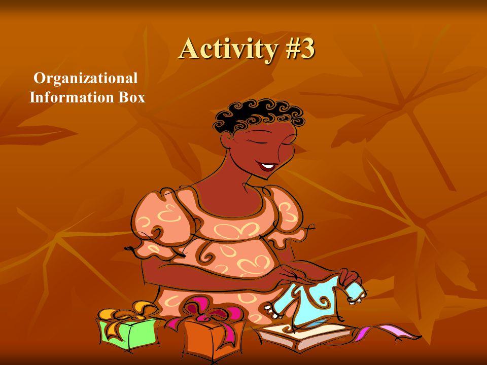 Activity #3 Organizational Information Box