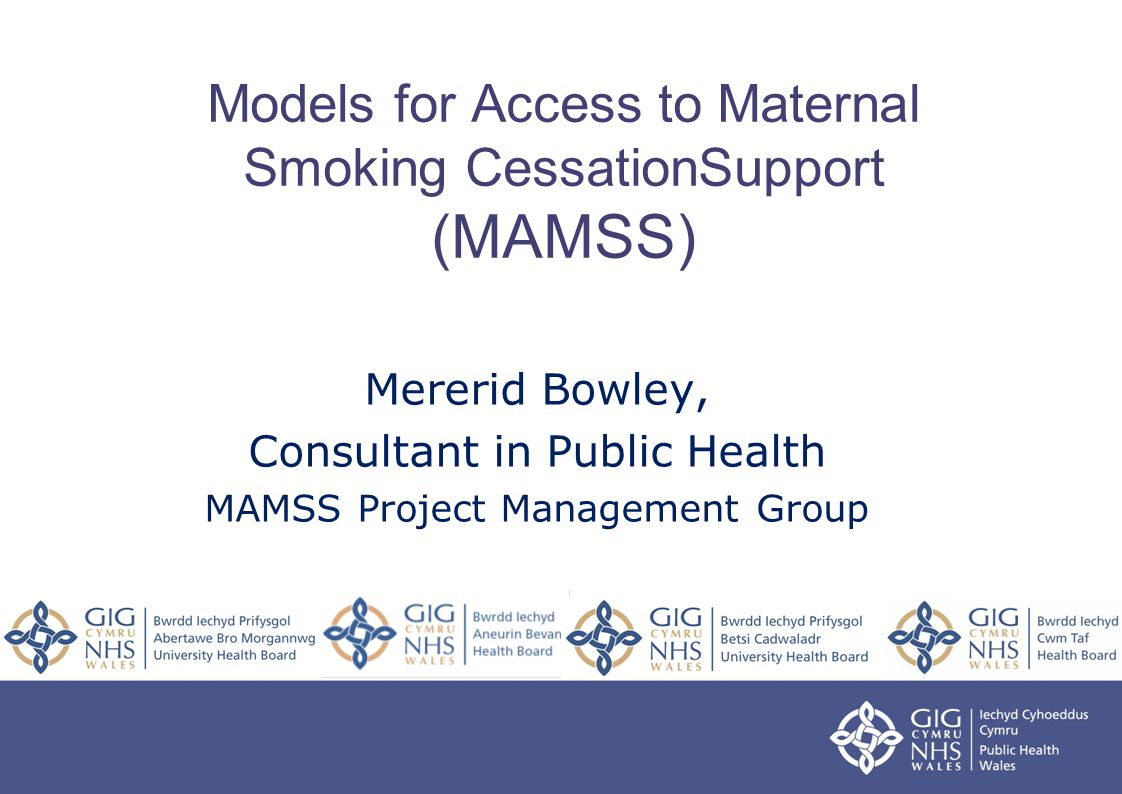 Models for Access to Maternal Smoking CessationSupport (MAMSS) Mererid Bowley, Consultant in Public Health MAMSS Project Management Group