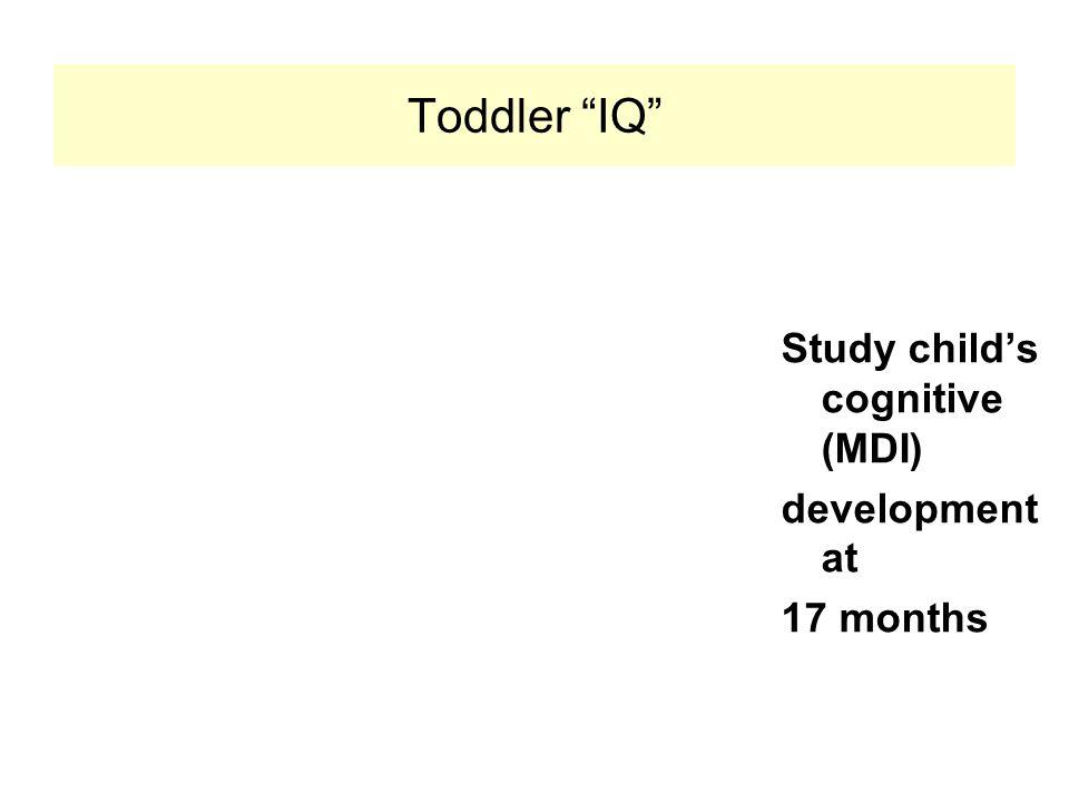 "Toddler ""IQ"" Study child's cognitive (MDI) development at 17 months"