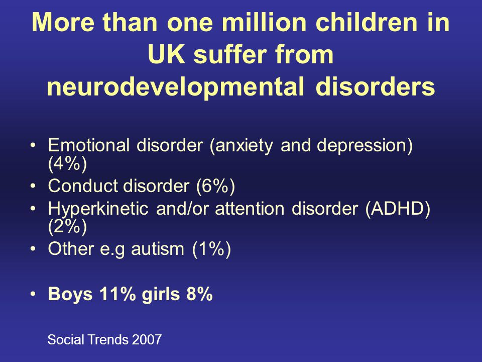 More than one million children in UK suffer from neurodevelopmental disorders Emotional disorder (anxiety and depression) (4%) Conduct disorder (6%) H