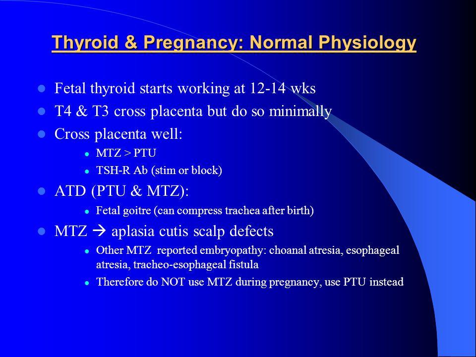 Pregnant & Suppressed TSH TSH < 0.1TSH 0.1 – 0.4 Recheck in 5 wks FT4, FT3, T4, T3 Thyroid Ab's Examine NormalizesStill suppressed Very High TFT's: TSH undetectable very high free/total T4/T3 hyperthyroid symptoms no hyperemesis TSH-R ab + orbitopathy goitre, nodule/TMNG pretibial myxedema Treat Hyperthyroidism (PTU) Hyperemesis Gravidarum Abnormal TFT's past 20 wk Don't treat with PTU