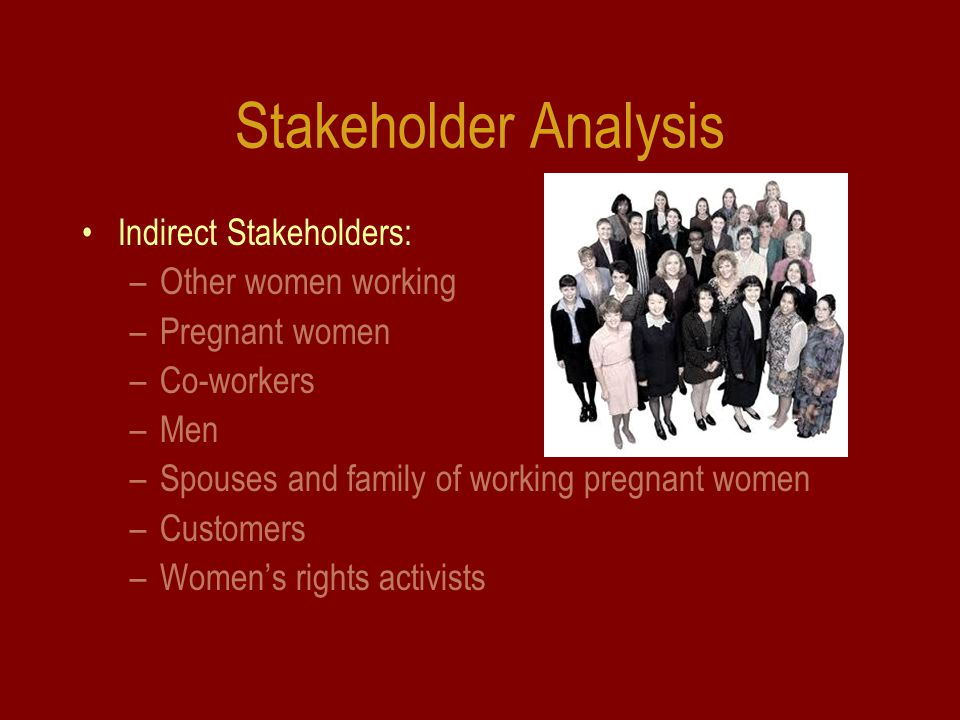 Stakeholder Analysis Indirect Stakeholders: –Other women working –Pregnant women –Co-workers –Men –Spouses and family of working pregnant women –Customers –Women's rights activists