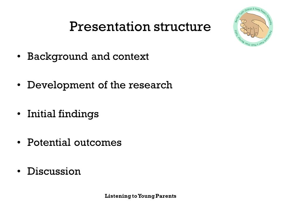 Listening to Young Parents Presentation structure Background and context Development of the research Initial findings Potential outcomes Discussion
